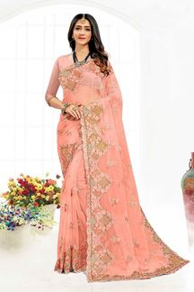 Picture of Glorious Peach Colored Designer Traditional Wear Net Saree