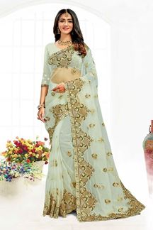 Picture of Beautiful Pista Green Colored Designer Traditional Wear Net Saree