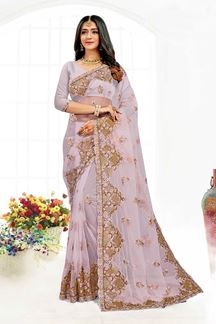 Picture of Amazing Lavender Colored Designer Traditional Wear Net Saree