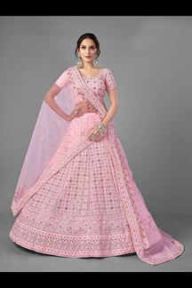 Picture of Fabulous Pink ColoredDesigner Bridal Wear Georgette Lehenga Choli