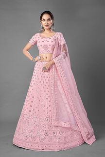 Picture of Sensational Pink ColoredDesigner Bridal Wear Georgette Lehenga Choli
