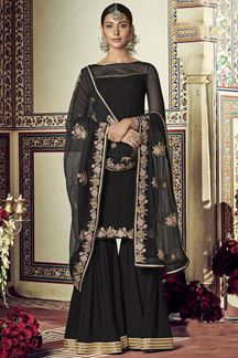 Picture of Capricious Black Colored Partywear Gharara Suit (Unstitched suit)