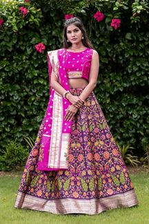 Picture of Purple & PinkColored Designer Silk Weaving Print Lehenga Choli