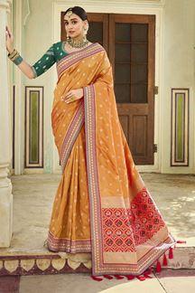Picture of Adoring Orange & Green Colored Banarasi Silk Saree