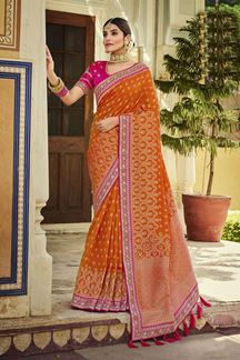 Picture of Classic Orange & Pink Colored Banarasi Silk Saree