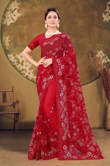 Picture of Designer Red Colored Embroidery Net Saree