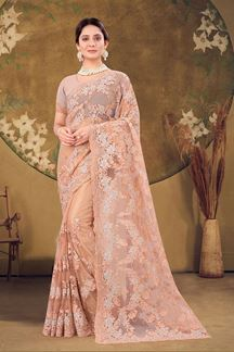Picture of Designer Dusty Peach Colored Embroidery Net Saree