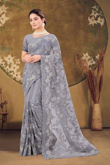 Picture of Designer Grey Colored Embroidery Net Saree