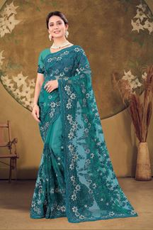 Picture of Designer Peacock Blue Colored Embroidery Net Saree