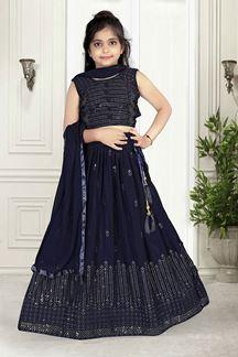 Picture of Wedding Designer Navy Blue Colored Georgette Kids wear Lehenga Choli