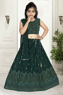 Picture of Wedding Designer Green Colored Georgette Kids wear Lehenga Choli
