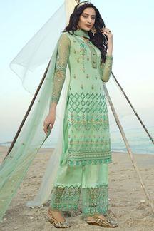 Picture of Breathtaking Green Colored Partwear Net Suit (Unstitched suit)