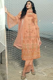 Picture of Refreshing Peach Colored Partwear Net Suit (Unstitched suit)