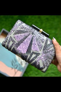 Picture of Attractive Grey Colored Designer Clasp Party Wear Clutches