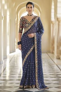 Picture of Navy Blue Colored Designer Fancy Party Wear Saree