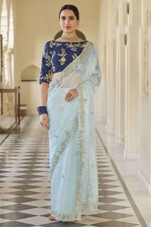 Picture of Mint Blue Colored Designer Fancy Party Wear Saree
