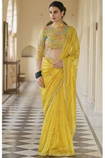 Picture of Yellow Colored Designer Fancy Party Wear Saree