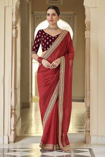 Picture of Gorgeous Red & Maroon Colored Designer Fancy Party Wear Saree