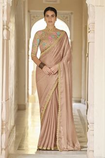 Picture of Brown Colored Designer Fancy Party Wear Saree