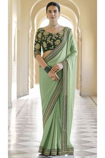 Picture of Beautiful Green Colored Designer Fancy Party Wear Saree