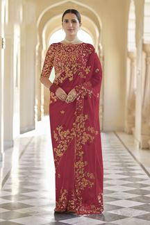 Picture of Dazzling Red Colored Designer Fancy Party Wear Saree