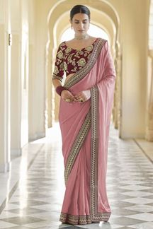 Picture of Peach & Maroon Colored Designer Fancy Party Wear Saree