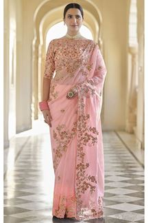Picture of Peach Colored Designer Fancy Party Wear Saree