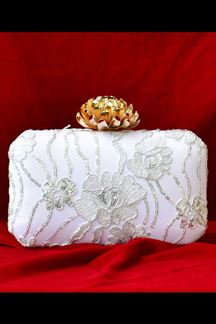 Picture of White Fancy Designer Lotus Knob Party Wear Clutches