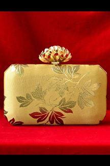 Picture of Golden Fancy Designer Lotus Knob Party Wear Clutches