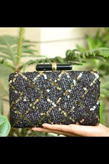 Picture of Exclusive Black Colored Designer Clasp Party Wear Clutches