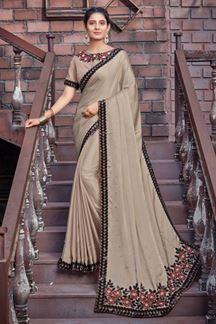 Picture of Beige Colored Designer Silk Georgette Saree