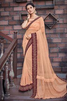 Picture of Peach Colored Designer Net Saree