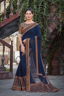 Picture of Blue Colored designer Silk Saree