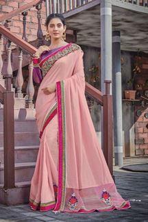 Picture of Pink Colored Designer Silk Georgette Saree