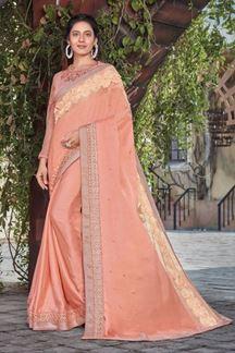 Picture of Peach Colored Designer Satin Silk Saree