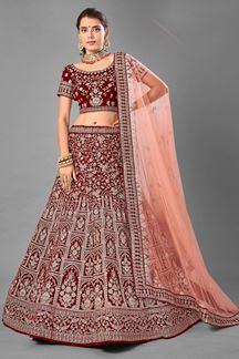 Picture of Unique Maroon Colored Designer Bridal Wear Velvet Lehenga Choli