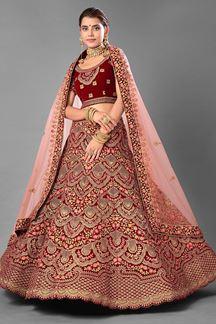 Picture of Elegant Maroon Colored Designer Bridal Wear Velvet Lehenga Choli