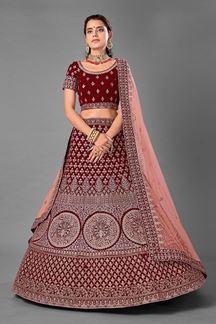 Picture of Trendy Maroon Colored Designer Bridal Wear Velvet Lehenga Choli