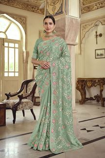 Picture of Satin  Georgette Green Colored Embroidery Saree