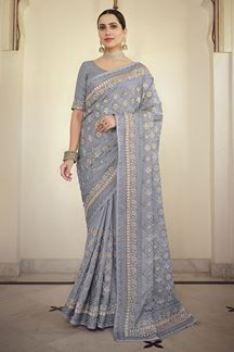Picture of Hypnotic Grey Colored Satin Georgette Embroidery Saree