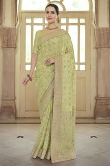 Picture of Stunning  Green Colored Satin Georgette Embroidery Saree