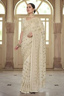Picture of Off white Colored Georgette Embroidery Saree