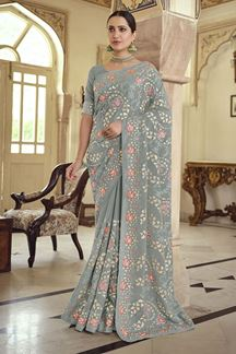Picture of Tremendous Grey Colored Satin Georgette Embroidery Saree