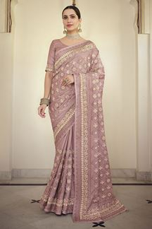 Picture of Gorgeous Mauve Colored Satin Georgette Embroidery Saree