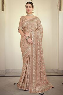 Picture of Beautiful Peach Colored Satin Georgette Embroidery Saree