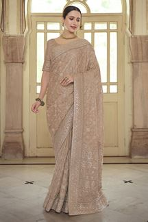 Picture of Partywear Brown Colored Satin Georgette Embroidery Saree