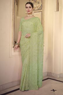 Picture of Jazzy Green Colored Chiffon Embroidery Saree