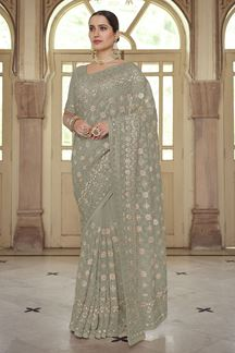 Picture of Refreshing Green Colored Georgette Embroidery Saree