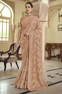 Picture of Trendy Brown Colored Satin Georgette Embroidery Saree