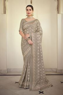 Picture of Graceful Grey Colored Satin Georgette Embroidery Saree